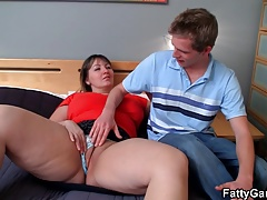 Doggy-banging for busty fat..