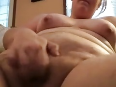 Fat hairy bird masturbates