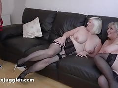 Young BBW meets two Mature..