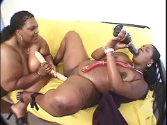 BBW ebony MILF fucks another..