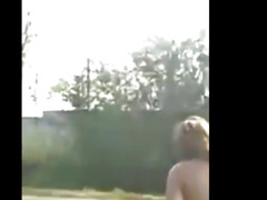 Russian BBW strips on roadside