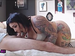 Tattooed BBW Blowjob,..