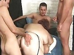 Horny Guys Gangbangs A Fat..