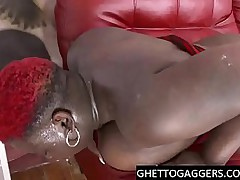 BBW Ebony gets deep throat..