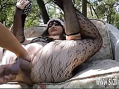 Stuffing her greedy pussy..