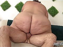 Huge fat ass gets in the..
