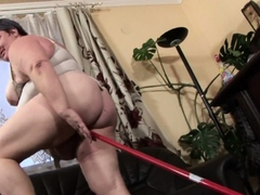 BBW old granny sex with a mop