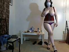 Busty, chubby girl in mask..