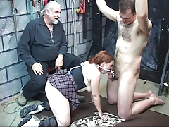 Young redhead blindfolds her..