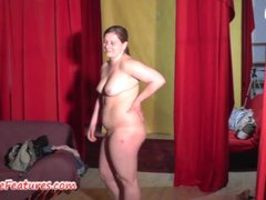 Fat girl shows her juicy..