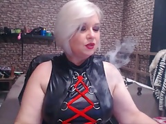 Submissive BBW smoking a..