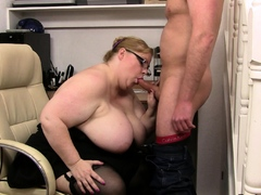 Huge boobs lady boss with..