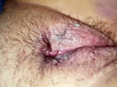 Wifes hairy used pussy red..